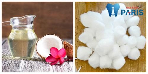 cách làm trắng răng bằng dầu dừa và bông
