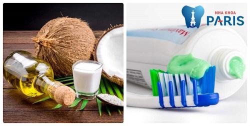 Làm trắng răng bằng dầu dừa cùng kem đánh răng