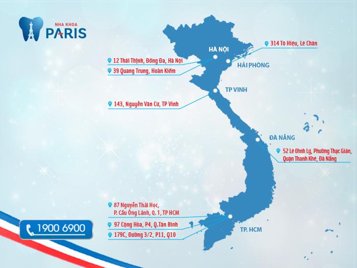Hệ thống Nha khoa Paris trải dài khắp 3 miền đất nước